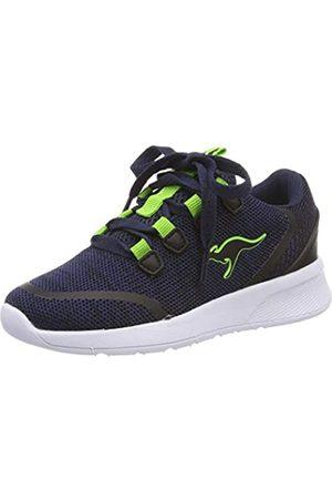 KangaROOS Unisex-Kinder KF Lock Sneaker, (Dk Navy/Lime 4054)