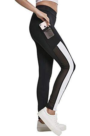 Urban classics Ladies Tech Mesh Striped Pocket Leggings, Black/White