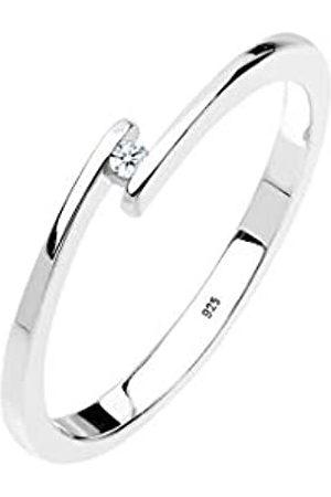DIAMORE Ring Damen Verlobungsring mit Diamant (0.02 ct.) in 925 Sterling