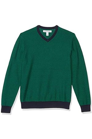 Amazon V-Neck Sweater Pullover-Sweaters, Teal/White Stripe