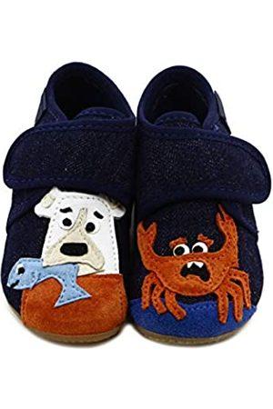 Living Kitzbühel Baby Jungen Babyklettschuh Bär und Krabbe Hausschuhe, (Nachtblau 590)