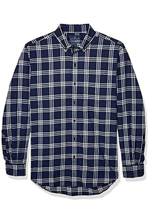Buttoned Down Classic Fit Supima Cotton Brushed Twill Plaid Sport button-down-shirts, Navy/White