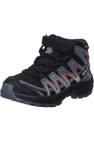 Salomon Kinder Wanderschuhe, XA PRO 3D MID CSWP K, Farbe: /orange (Black/Stormy Weather/Cherry Tomato)