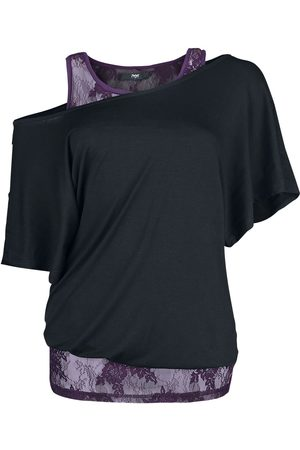 Black Premium by EMP Damen T-Shirts, Polos & Longsleeves - When The Heart Rules The Mind T-Shirt /purple