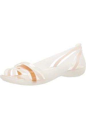Crocs Damen Isabella Huarache 2 Flat W Peeptoe Ballerinas, (Oyster/Oyster 12u)