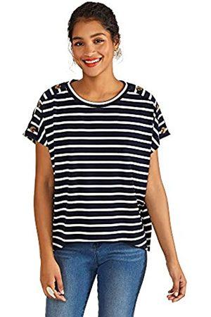 Yumi Damen Stripe Top with Button Detail Bluse