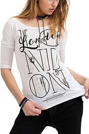 Trueprodigy Casual Damen Marken Long Sleeve Aufdruck Oberteil Cool Stylisch Rundhals mit Knopfleiste Langarm Slim Fit Langarmshirt für Frauen Bedruckt, Größe:XS