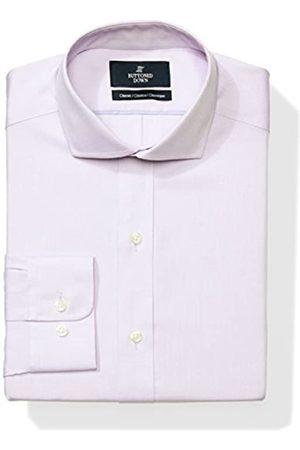 Buttoned Down Classic Fit Cutaway-Collar Solid Non-Iron Dress Shirt Smoking Hemd, purple/no pockets