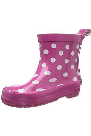 Playshoes Kinder Halbschaft-Gummistiefel aus Naturkautschuk, trendige Unisex Regenstiefel mit Reflektoren, gepunktet mit Punkt-Muster, (pink 18)