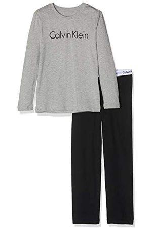 Calvin Klein Jungen Ls Knit Pj Set Zweiteiliger Schlafanzug, (Grey Heather W/Black 044)