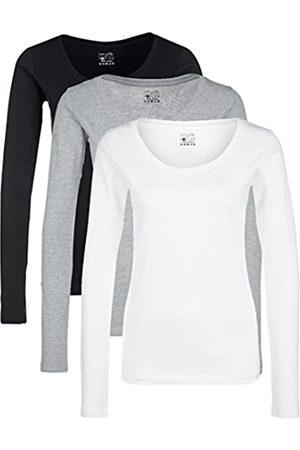 Berydale Damen für Sport & Freizeit, Rundhalsausschnitt Langarmshirt, 3er Pack, Mehrfarbig ( /Weiß/ )