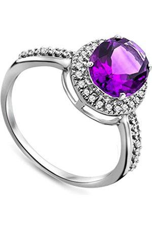 Miore Damen-Ring375WeißgoldovaleAmethystBrillantenJM038R5W