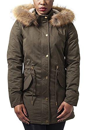 Urban classics Ladies Sherpa Parka Wintermantel Winterjacke Damen | Teddyfutter Kapuze | olive | Gr. L