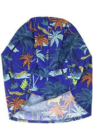 maximo Jungen Schildmütze, Nackenschutzmütze, Bindeband Mütze, Mehrfarbig (Nachtblau-Terrakotta-Palmen 79)