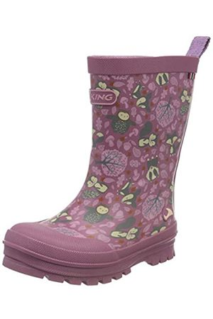 Viking Unisex-Kinder Jolly Woodland Gummistiefel, Pink (Dark Pink/Multi 3950)