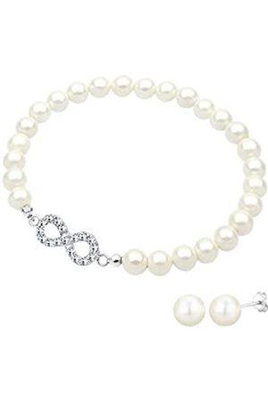 Elli Damen-Infinity Armband mit Ohrringe 925 Sterling Silber Süßwasserzuchtperlen Swarovski Kristallen 18 cm - 0906951016-18