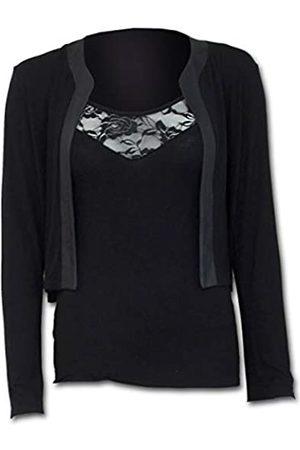 Spiral Damen Gothic Elegance-2in1 Lace Vest Cardigan Langarmshirt