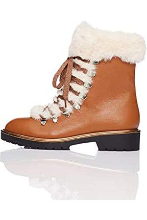 FIND Damen Fur Lined Hiker Trekking-& Wanderhalbschuhe, (Brown Brown)