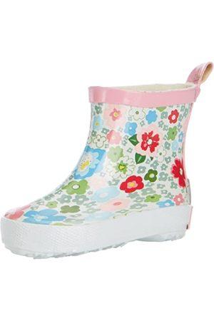 Playshoes Kinder Halbschaft-Gummistiefel aus Naturkautschuk, trendige Unisex Regenstiefel mit Reflektoren, mit Blumen-Muster, Mehrfarbig (1- )