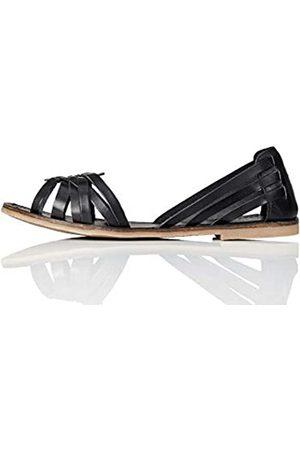 FIND Amazon-Marke: FIND Open Toe Hurrache Offene Sandalen, (Black)
