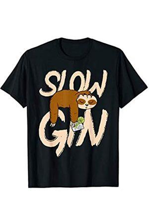 Sloe Gin Schlehenlikör Cocktail Geschenke Lustig Slow Gin Faultier Geschenk T-Shirt
