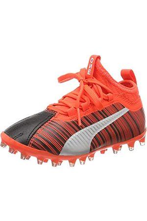 Puma Unisex-Kinder ONE 5.3 MG Jr Fußballschuhe, (Black-NRGY Red Aged Silver 01)