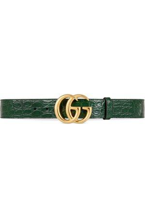 Gucci GG Marmont Gürtel aus Krokodilleder mit glänzender Schnalle