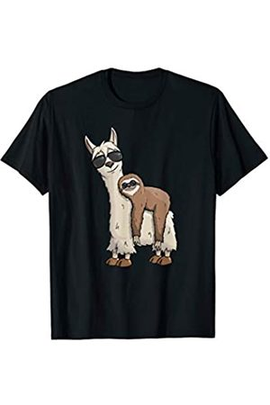 SkizzenMonsters Schicke Lama Shirts Funky Hipster Faultier auf Lama mit Sonnenbrille T-Shirt