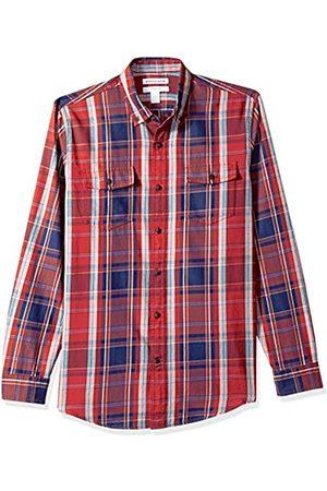 Amazon Herren-Shirt, Langarmshirt, schmale Passform, zweifarbig, aus Twill