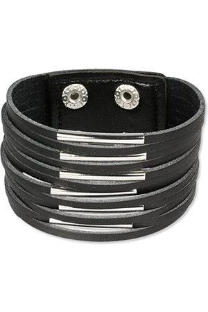 SilberDream Herren-Lederarmband schwarz mit Metallverzierungen Echtleder LAC153S