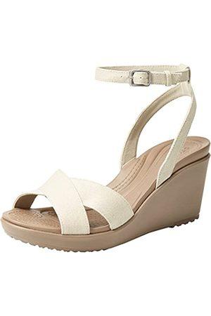 Crocs Damen Leigh Ii Crossstrap Ankle Wedge Women Riemchenpumps, (Oatmeal/Mushroom 14G)
