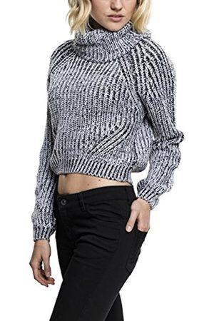 Urban classics Damen Rollkragen Strickpullover Ladies Short Turtleneck Sweater, grobmaschiger Wollpullover mit hohem Kragen - Farbe offwhite melange