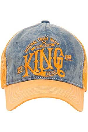 King kerosin Herren Truckercap Mit Denim Einsatz Im Used Look Casual Used Stickerei Schnalle Trucker Cap King