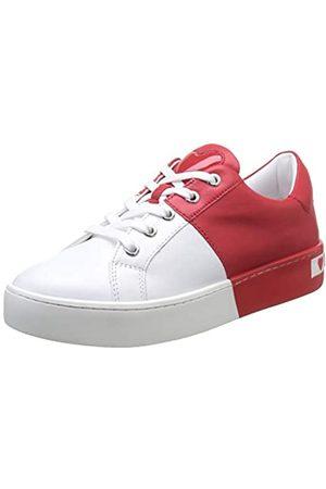 Love Moschino Damen Scarpad.cassetta35 VIT.Bianco+Rosso Gymnastikschuhe, Mehrfarbig (White Calf Red 10c)