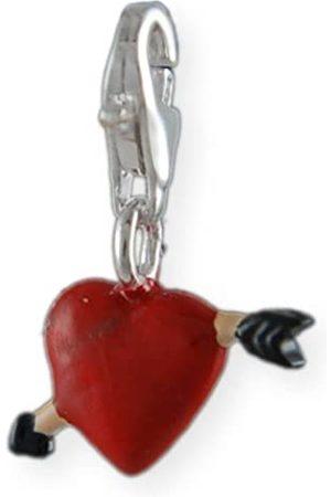 Melina Damen-Charm Anhänger Herz mit Pfeil Emaille 925 Sterling Silber 1800565