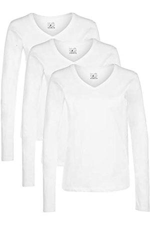 Berydale Damen Langarmshirt mit V-Ausschnitt, 3er Pack