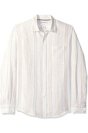 Amazon Herren-Leinenshirt, Langarm-Shirt, schmale Passform, gestreift