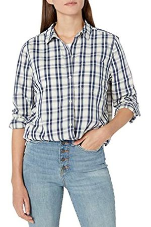 Goodthreads Lightweight Twill Long-Sleeve Boyfriend dress-shirts, Off-white/Navy Plaid