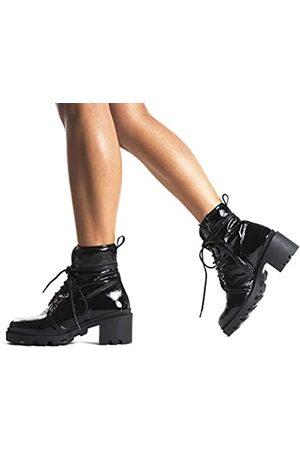 L'INTERVALLE Damen Holo Combat Boots, (Black Naplack 0022)