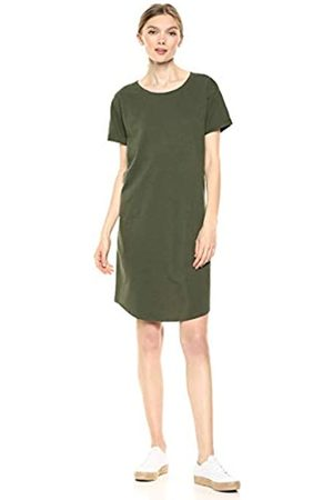 Daily Ritual Lived-In Cotton Roll-Sleeve Crewneck T-Shirt dresses, Olive