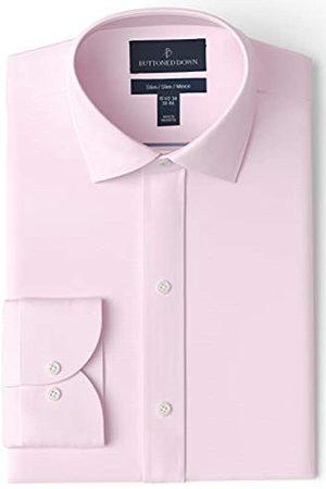 Buttoned Down Slim Fit Spread Collar Solid Non-iron Dress Shirt Smoking Hemd, Light Pink)