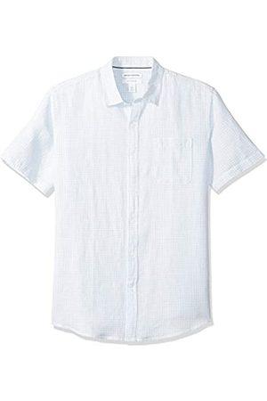 Amazon Herren-Hemd, Kurzarm, reguläre Passform, bedruckt, aus Leinen