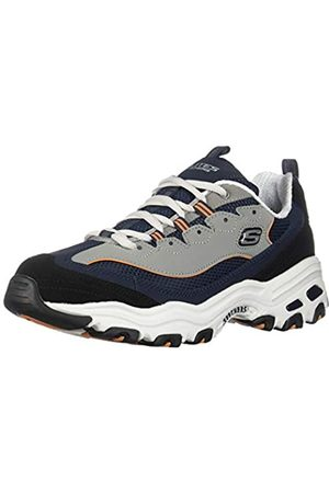 Skechers Men's D'Lites Trainers, Blue (Navy Trubuck/Mesh/Orange Trim Nvor)