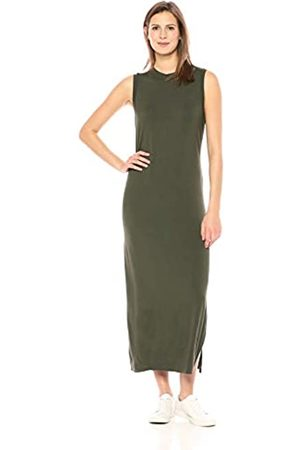 Daily Ritual Amazon-Marke: , Damen-Maxikleid aus Jersey mit Mock-Ausschnitt., Forest Green