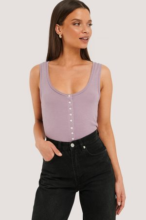 NA-KD Button Ribbed Tank Top - Purple