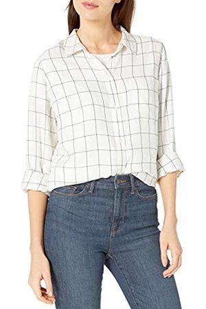 Goodthreads Modal Twill Long-Sleeve Boyfriend dress-shirts, Snow White/Black Windowpane