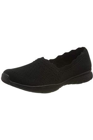 Skechers Damen Seager Sneaker, (Black Flat Knit BBK)