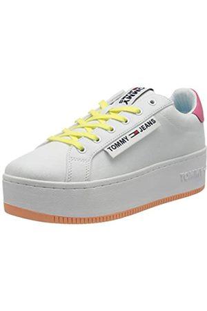 Tommy Hilfiger Damen Oversized Label ICON Sneaker, (White/Blush Red/Melon 0k4)