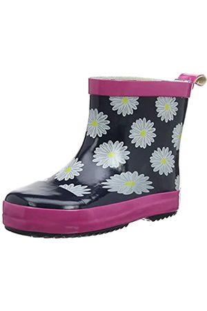 Playshoes Kinder Gummistiefel aus Naturkautschuk, trendige Unisex Regenstiefel mit Reflektoren, mit Blumen-Motiv, (marine/pink 372)
