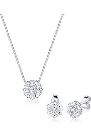 Elli Damen-Schmuckset Halskette + Ohrringe Blume 925 Silber Zirkonia Rundschliff Zirkonia - 0905781016_45 - 45cm Länge